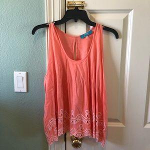 Anthropologie Peach/Pink Lace Trim Tank Top Shirt